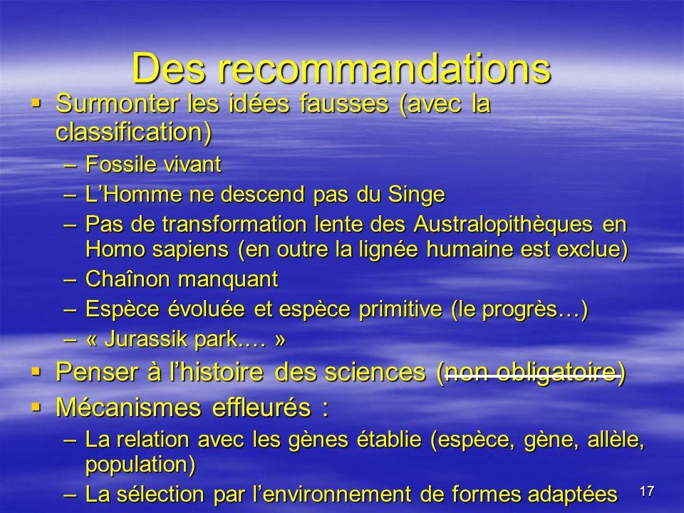 17 Des recommandations Surmonter les idées fausses (avec la classification) Surmonter les idées fausses (avec la classification) –Fossile vivant –LHom