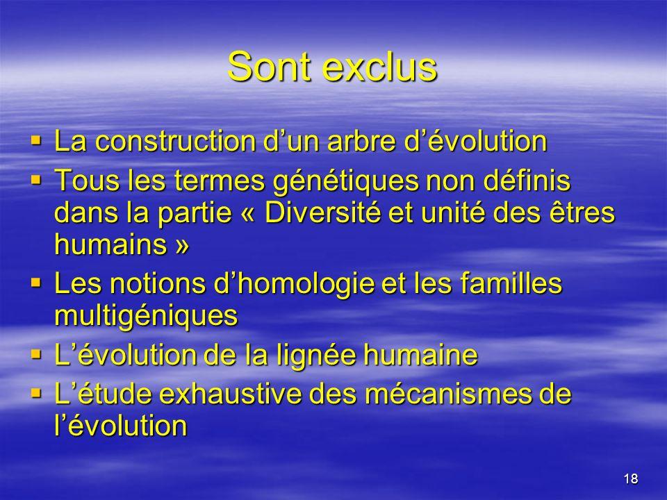 18 Sont exclus La construction dun arbre dévolution La construction dun arbre dévolution Tous les termes génétiques non définis dans la partie « Diver