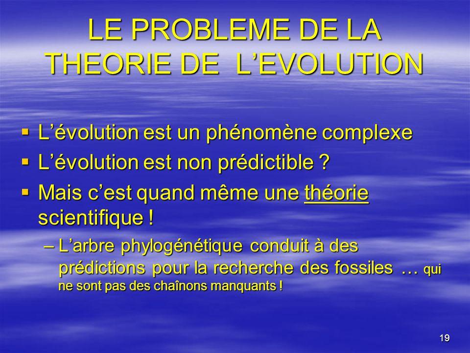 19 LE PROBLEME DE LA THEORIE DE LEVOLUTION Lévolution est un phénomène complexe Lévolution est un phénomène complexe Lévolution est non prédictible ?