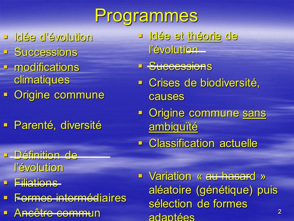 2 Programmes Idée dévolution Idée dévolution Successions Successions modifications climatiques modifications climatiques Origine commune Origine commu
