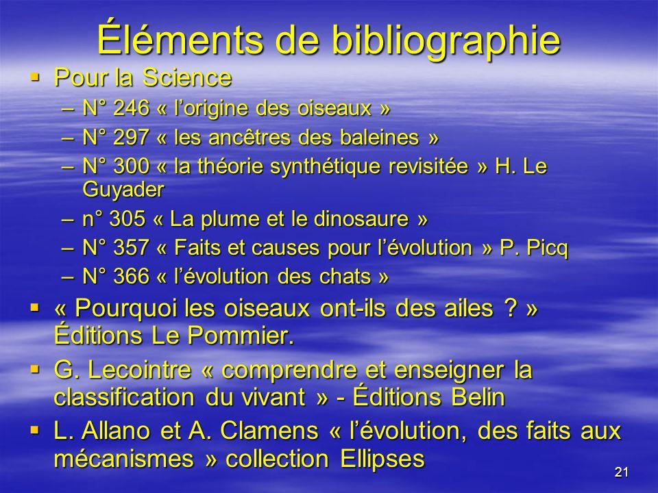 21 Éléments de bibliographie Pour la Science Pour la Science –N° 246 « lorigine des oiseaux » –N° 297 « les ancêtres des baleines » –N° 300 « la théor