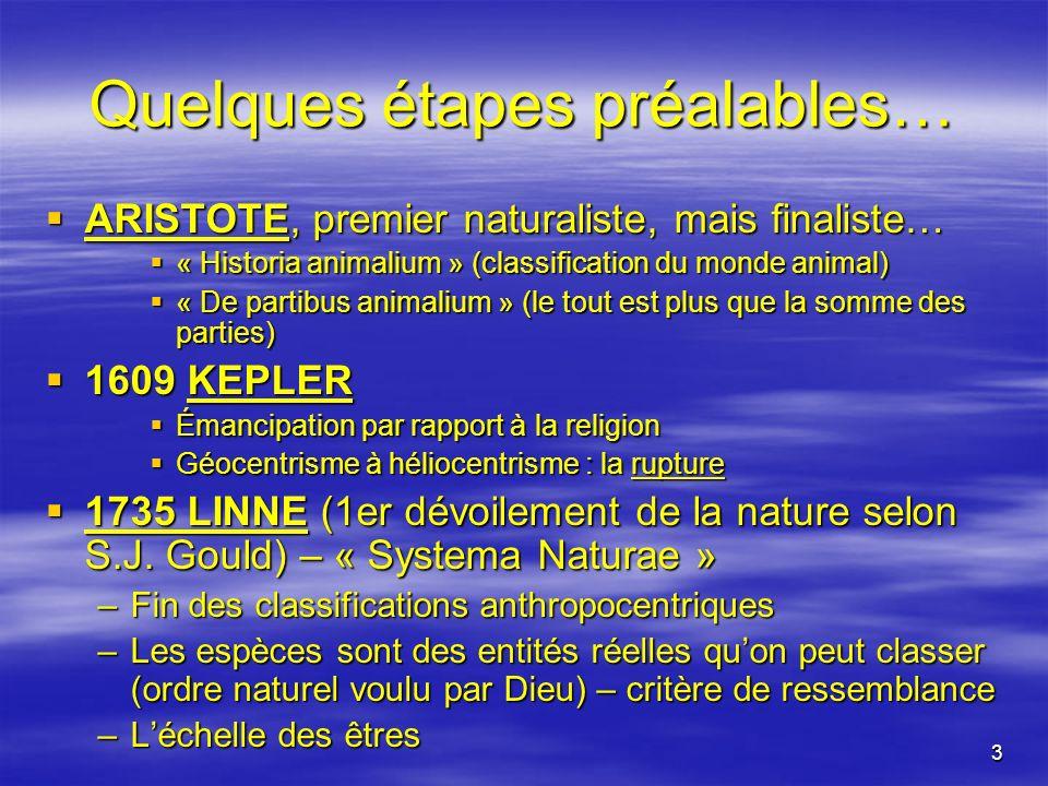 3 Quelques étapes préalables… ARISTOTE, premier naturaliste, mais finaliste… ARISTOTE, premier naturaliste, mais finaliste… « Historia animalium » (cl
