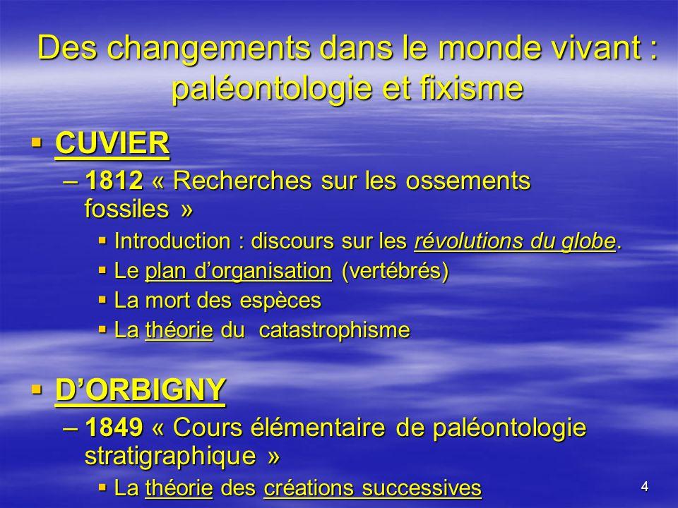 4 Des changements dans le monde vivant : paléontologie et fixisme CUVIER CUVIER –1812 « Recherches sur les ossements fossiles » Introduction : discour
