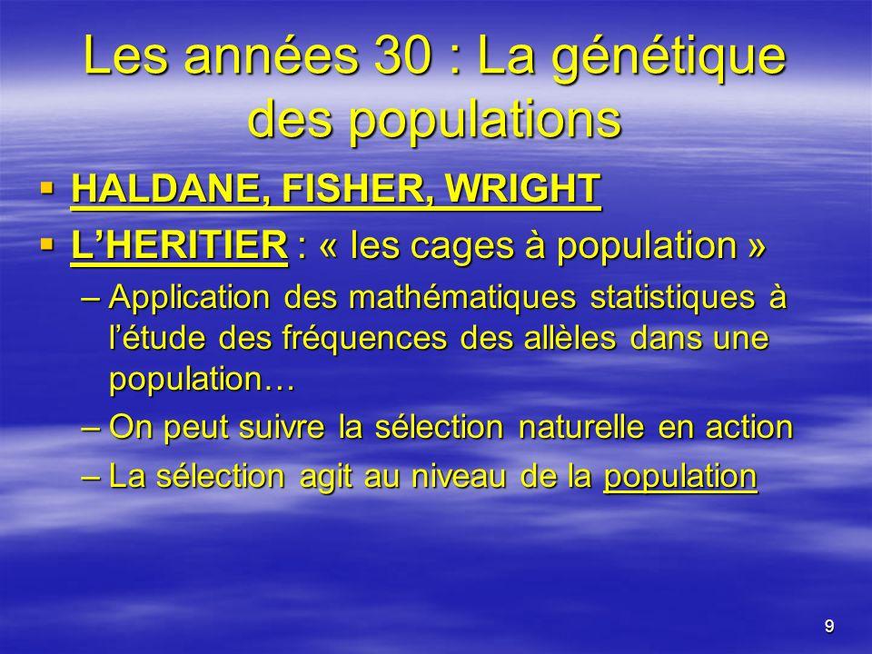 9 Les années 30 : La génétique des populations HALDANE, FISHER, WRIGHT HALDANE, FISHER, WRIGHT LHERITIER : « les cages à population » LHERITIER : « le