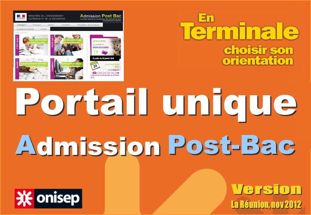 A Post-Bac Portail unique dmission À partir du 20 janvier 2013 Inscription du 20 janvier au 20 mars 2013