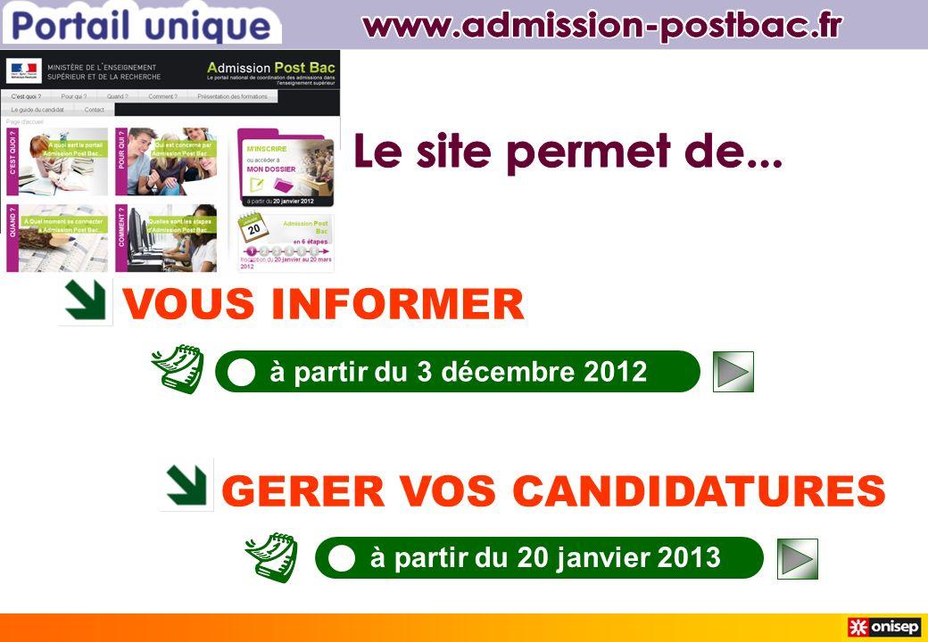VOUS INFORMER GERER VOS CANDIDATURES à partir du 3 décembre 2012 à partir du 20 janvier 2013