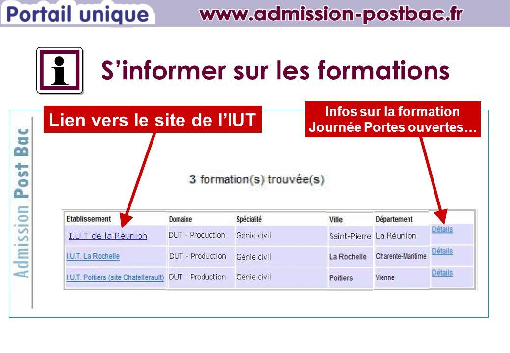 Lien vers le site de lIUT Infos sur la formation Journée Portes ouvertes… Sinformer sur les formations