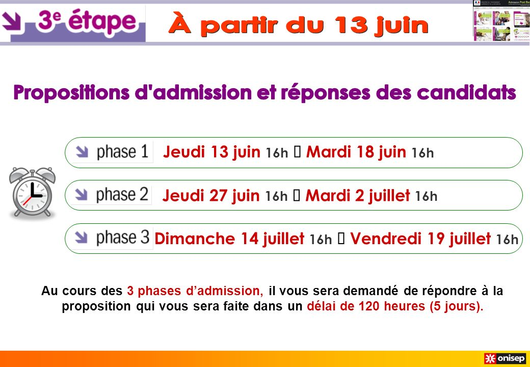 Jeudi 13 juin 16h Mardi 18 juin 16h Jeudi 27 juin 16h Mardi 2 juillet 16h Dimanche 14 juillet 16h Vendredi 19 juillet 16h Au cours des 3 phases dadmis