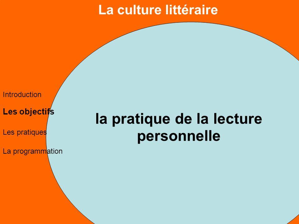 La culture littéraire Les objectifs Les pratiques La programmation Introduction la pratique de la lecture personnelle