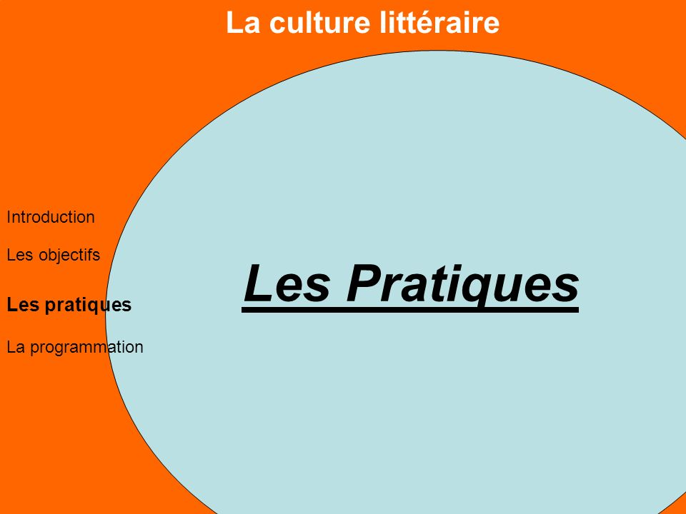La culture littéraire Les objectifs Les pratiques La programmation Introduction Les Pratiques