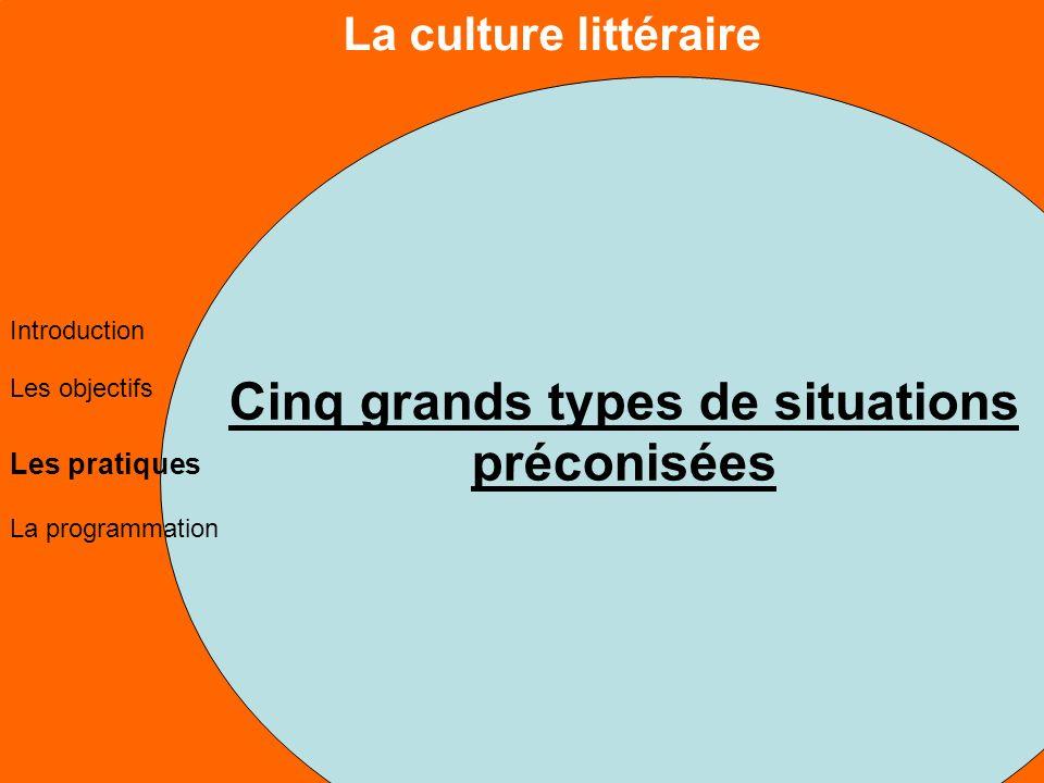 La culture littéraire Les objectifs Les pratiques La programmation Introduction Cinq grands types de situations préconisées