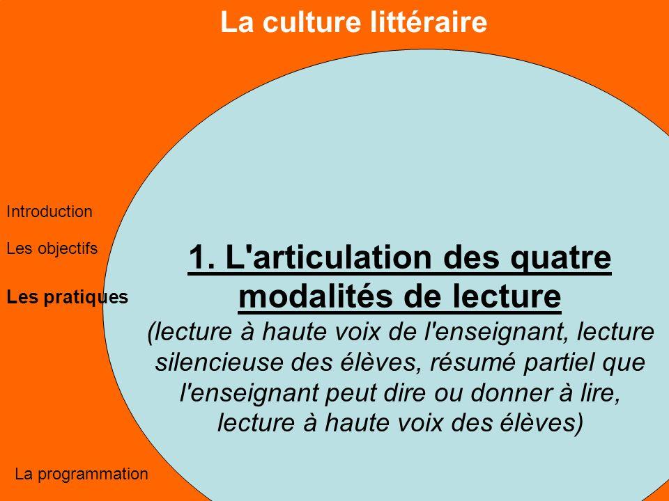 La culture littéraire Les objectifs Les pratiques La programmation Introduction 1.