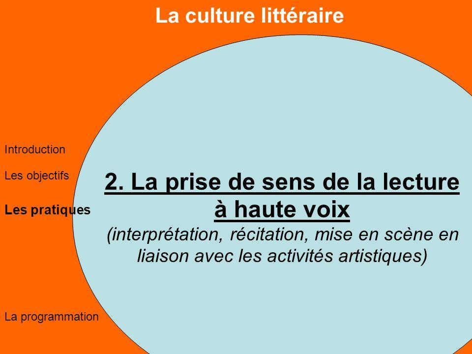 La culture littéraire Les objectifs Les pratiques La programmation Introduction 2.