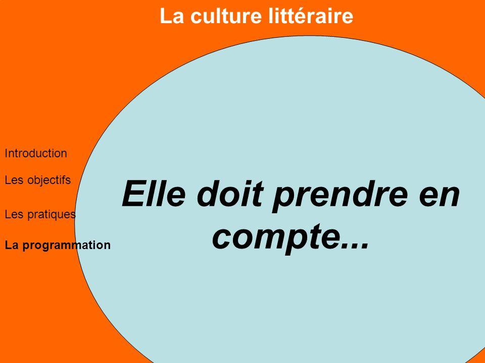 La culture littéraire Les objectifs Les pratiques La programmation Introduction Elle doit prendre en compte...