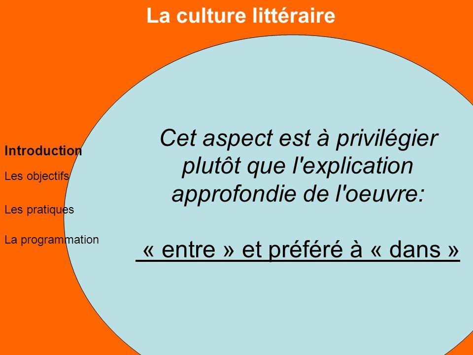 La culture littéraire Les objectifs Les pratiques La programmation Introduction Cet aspect est à privilégier plutôt que l explication approfondie de l oeuvre: « entre » et préféré à « dans »