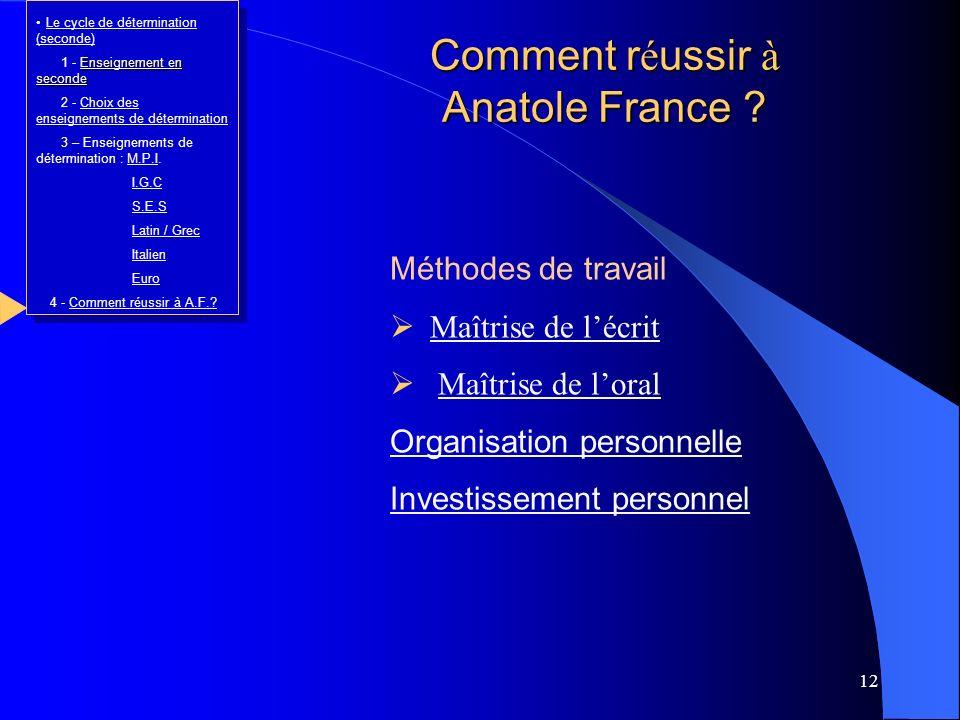 12 Méthodes de travail Maîtrise de lécrit Maîtrise de loral Organisation personnelle Investissement personnel Comment r é ussir à Anatole France ? Le