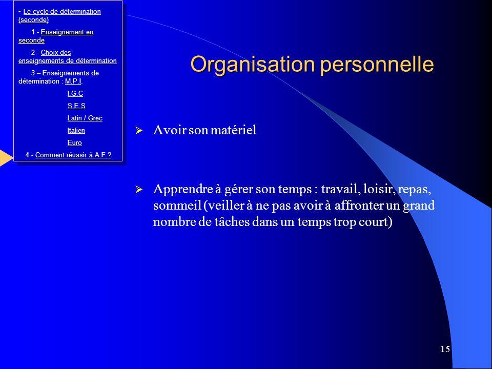 15 Organisation personnelle Avoir son matériel Apprendre à gérer son temps : travail, loisir, repas, sommeil (veiller à ne pas avoir à affronter un gr