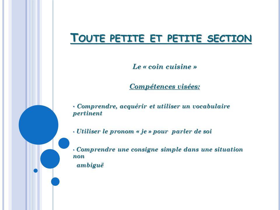 T OUTE PETITE ET PETITE SECTION Le « coin cuisine » Compétences visées: Comprendre, acquérir et utiliser un vocabulaire pertinent Comprendre, acquérir