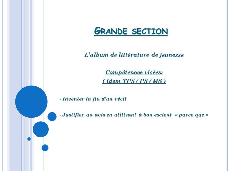 G RANDE SECTION Lalbum de littérature de jeunesse Compétences visées: ( idem TPS / PS / MS ) Inventer la fin dun récit Inventer la fin dun récit Justi