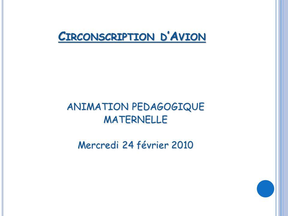 C IRCONSCRIPTION D A VION ANIMATION PEDAGOGIQUE MATERNELLE Mercredi 24 février 2010