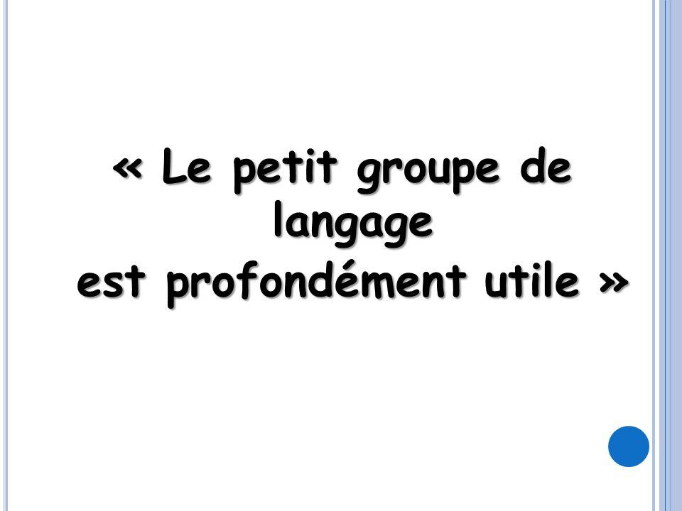 « Le petit groupe de langage est profondément utile » est profondément utile »