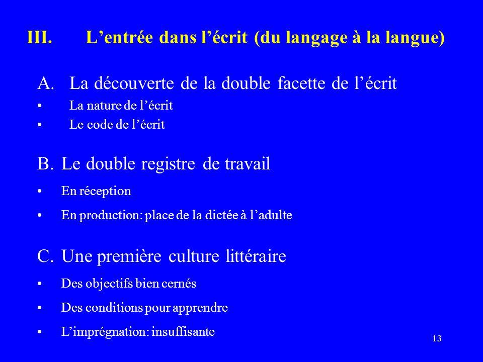 13 III.Lentrée dans lécrit (du langage à la langue) A.La découverte de la double facette de lécrit La nature de lécrit Le code de lécrit B.Le double r