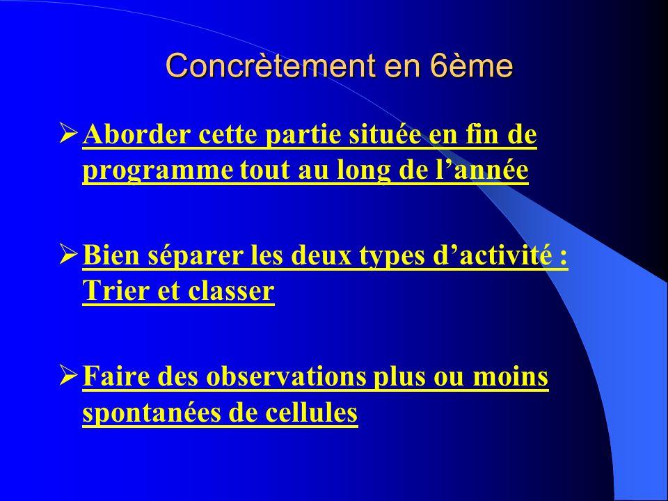 Concrètement en 6ème Aborder cette partie située en fin de programme tout au long de lannée Bien séparer les deux types dactivité : Trier et classer F