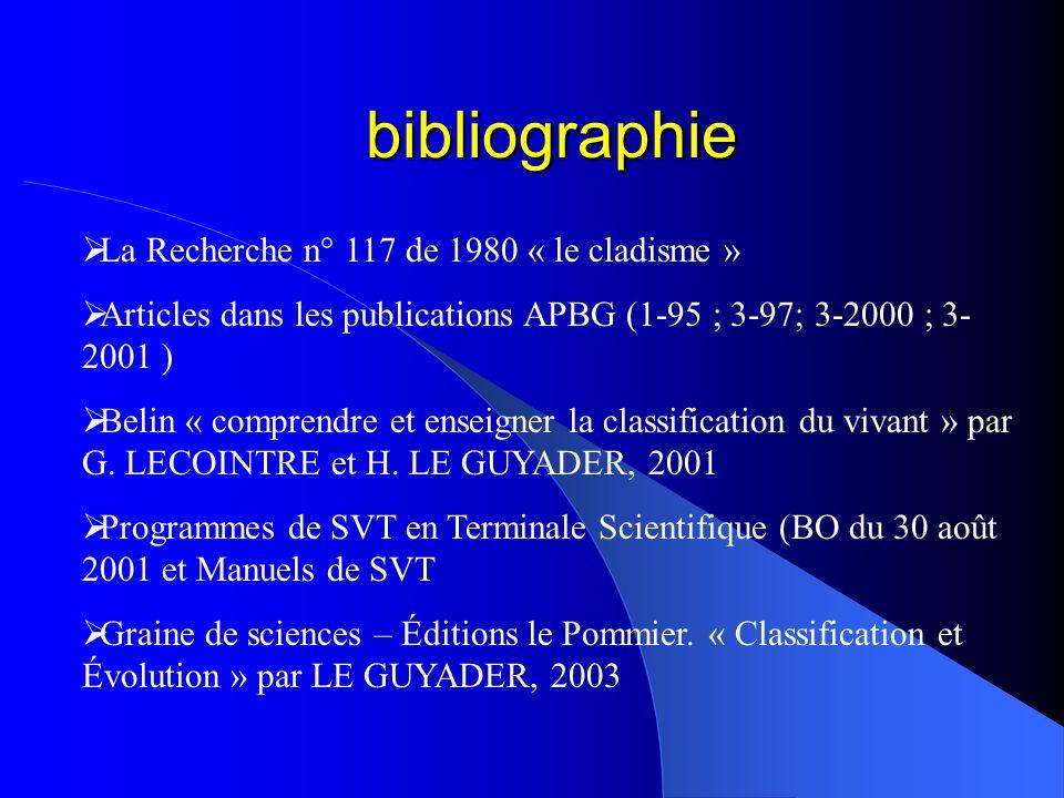 bibliographie La Recherche n° 117 de 1980 « le cladisme » Articles dans les publications APBG (1-95 ; 3-97; 3-2000 ; 3- 2001 ) Belin « comprendre et e