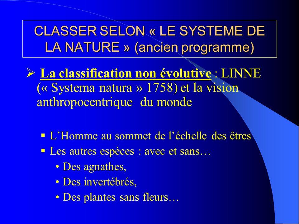 CLASSER SELON « LE SYSTEME DE LA NATURE » (ancien programme) La classification non évolutive : LINNE (« Systema natura » 1758) et la vision anthropoce
