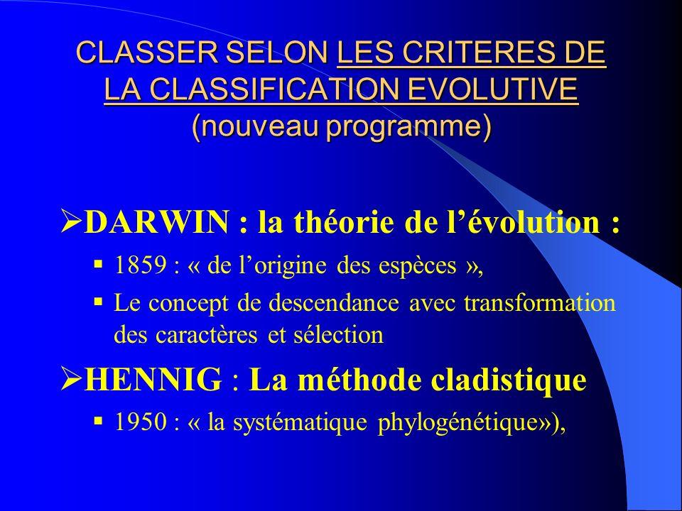 CLASSER SELON LES CRITERES DE LA CLASSIFICATION EVOLUTIVE (nouveau programme) DARWIN : la théorie de lévolution : 1859 : « de lorigine des espèces »,