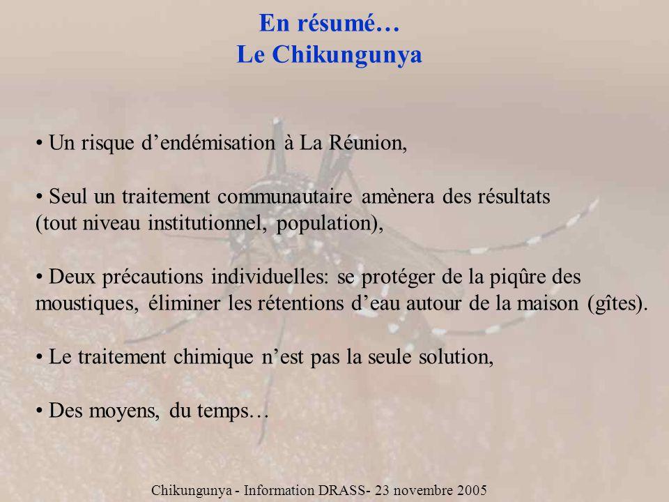 En résumé… Le Chikungunya Un risque dendémisation à La Réunion, Seul un traitement communautaire amènera des résultats (tout niveau institutionnel, po