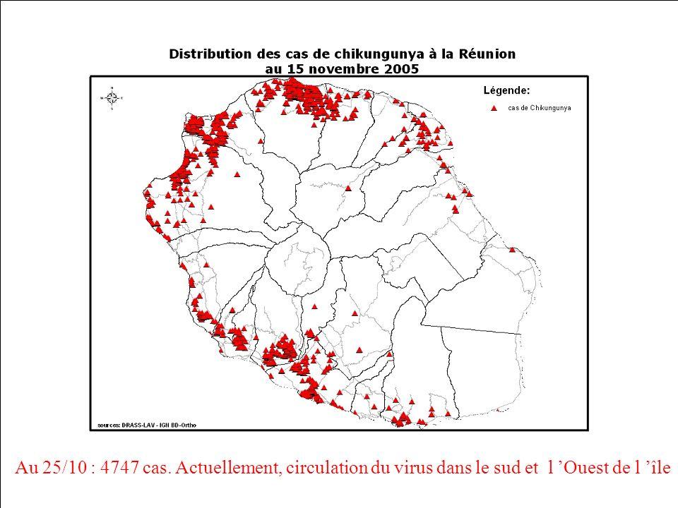 Au 25/10 : 4747 cas. Actuellement, circulation du virus dans le sud et l Ouest de l île