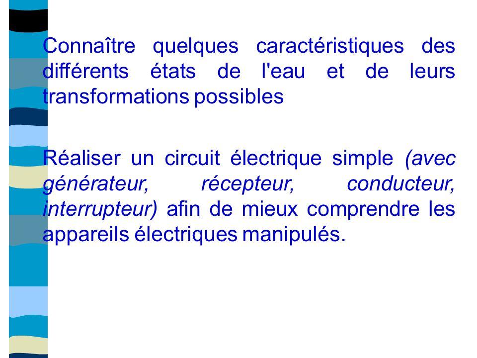 Connaître quelques caractéristiques des différents états de l eau et de leurs transformations possibles Réaliser un circuit électrique simple (avec générateur, récepteur, conducteur, interrupteur) afin de mieux comprendre les appareils électriques manipulés.