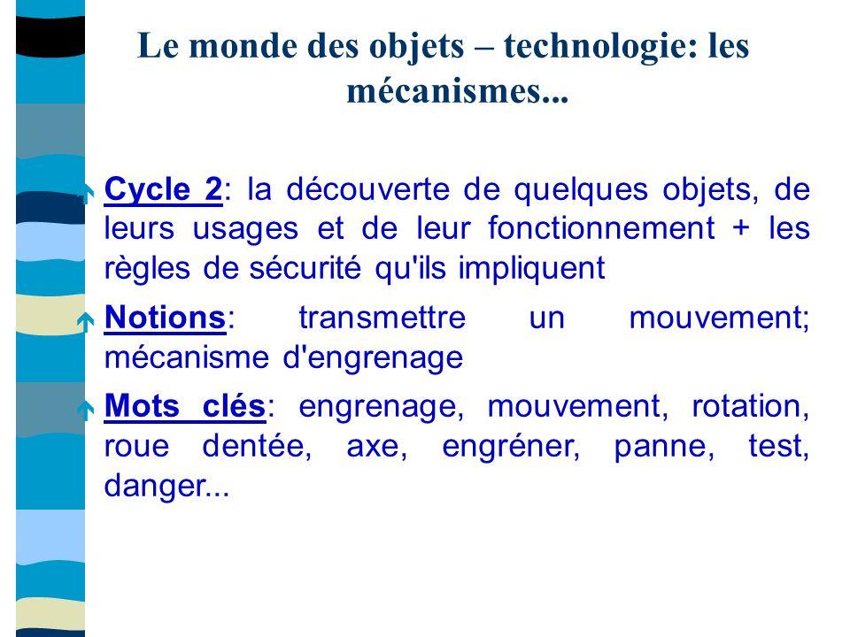 Le monde des objets – technologie: les mécanismes...