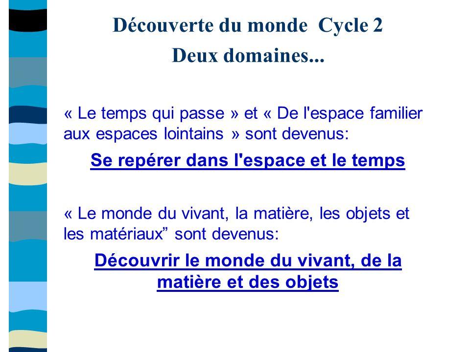 Découverte du monde Cycle 2 Deux domaines...