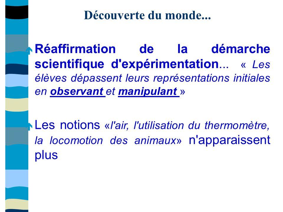 Découverte du monde... Réaffirmation de la démarche scientifique d expérimentation...