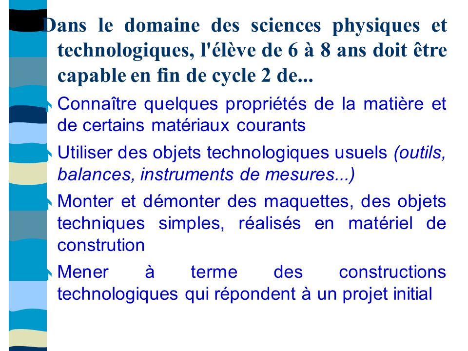 Dans le domaine des sciences physiques et technologiques, l élève de 6 à 8 ans doit être capable en fin de cycle 2 de...