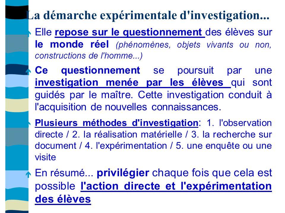 La démarche expérimentale d investigation...