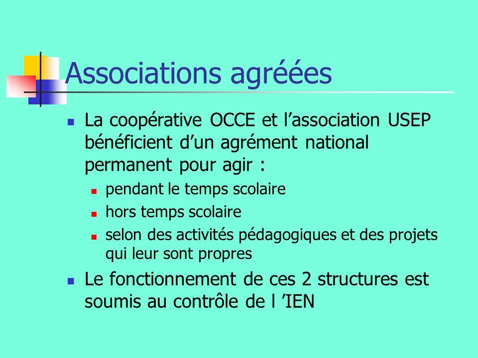 Associations agréées La coopérative OCCE et lassociation USEP bénéficient dun agrément national permanent pour agir : pendant le temps scolaire hors t