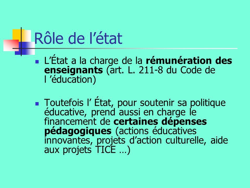 Rôle de létat LÉtat a la charge de la rémunération des enseignants (art. L. 211-8 du Code de l éducation) Toutefois l État, pour soutenir sa politique