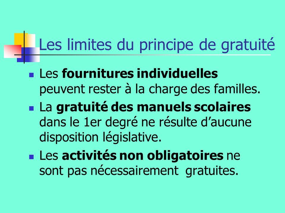 Les limites du principe de gratuité Les fournitures individuelles peuvent rester à la charge des familles. La gratuité des manuels scolaires dans le 1