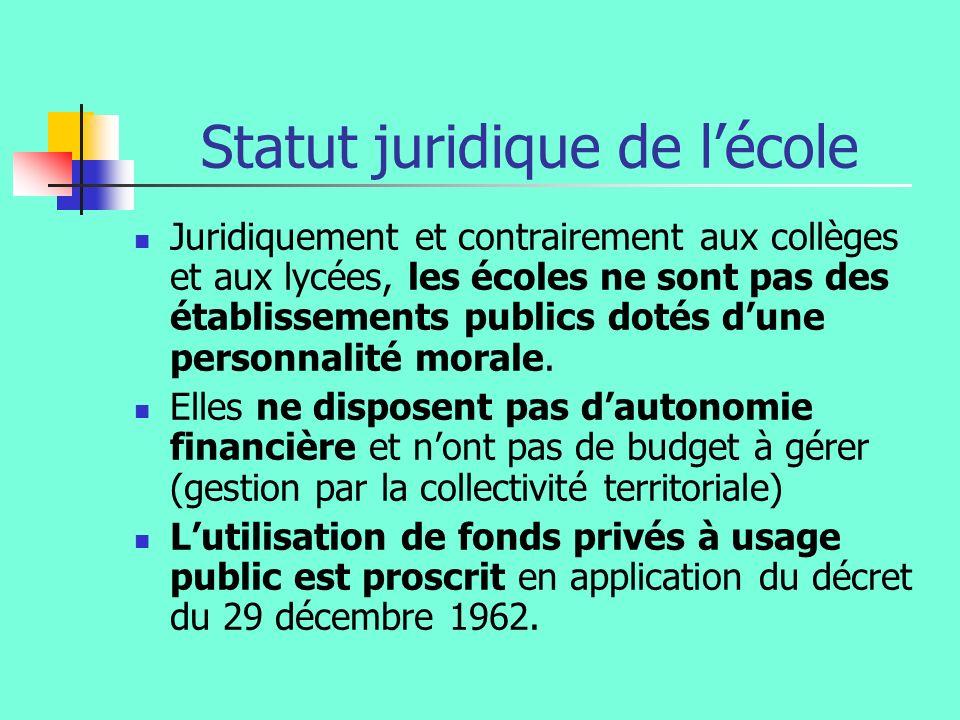 Statut juridique de lécole Juridiquement et contrairement aux collèges et aux lycées, les écoles ne sont pas des établissements publics dotés dune per