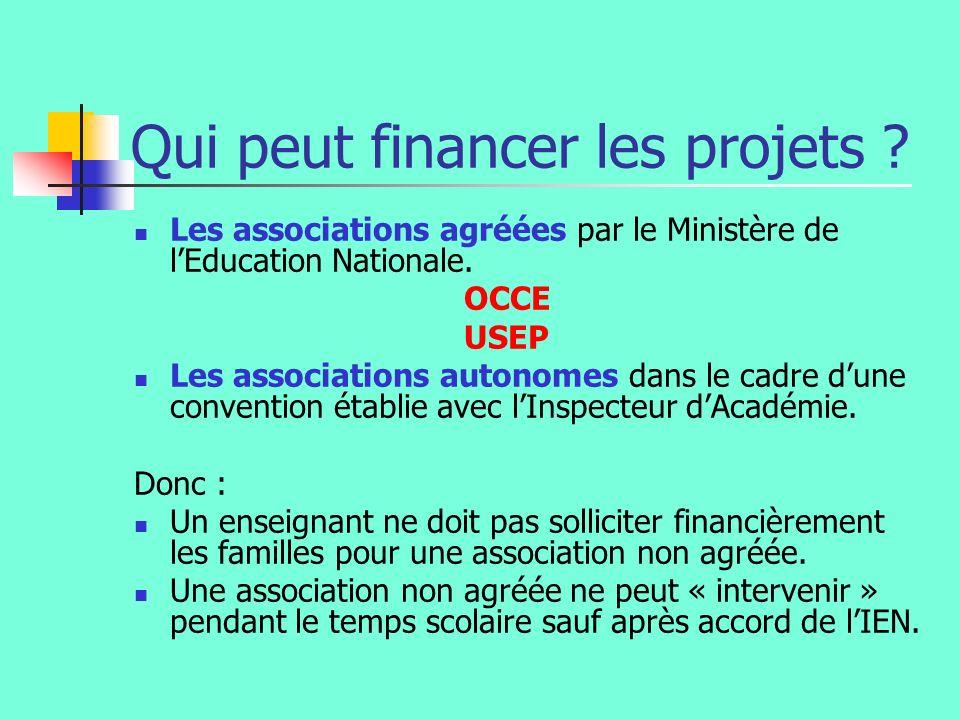 Qui peut financer les projets ? Les associations agréées par le Ministère de lEducation Nationale. OCCE USEP Les associations autonomes dans le cadre