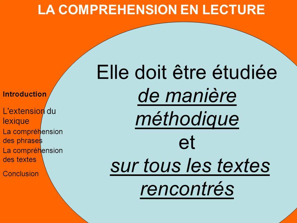 LA COMPREHENSION EN LECTURE L extension du lexique La compréhension des phrases La compréhension des textes Conclusion Introduction 4.