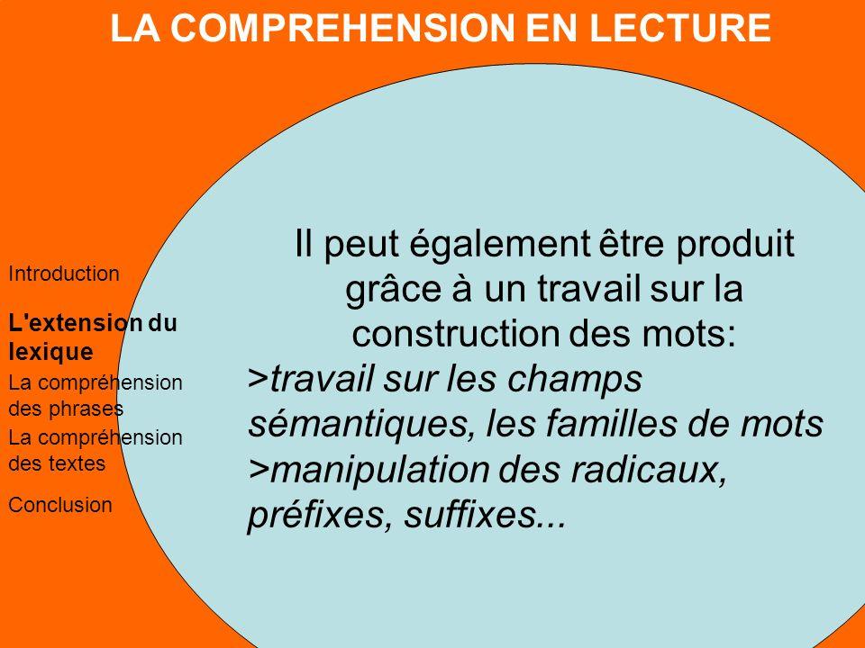 LA COMPREHENSION EN LECTURE L extension du lexique La compréhension des phrases La compréhension des textes Conclusion Introduction 2.
