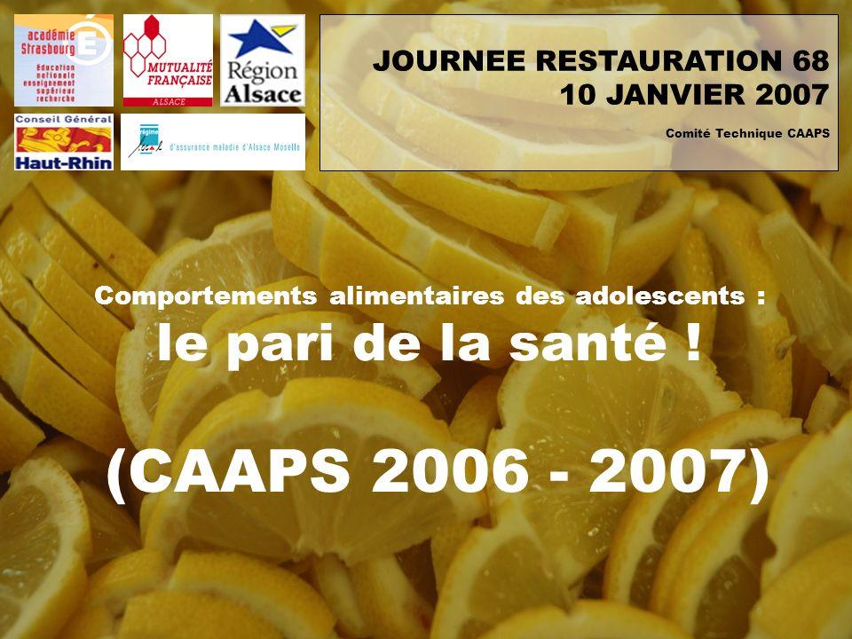 Comportements alimentaires des adolescents : le pari de la santé ! (CAAPS 2006 - 2007) JOURNEE RESTAURATION 68 10 JANVIER 2007 Comité Technique CAAPS
