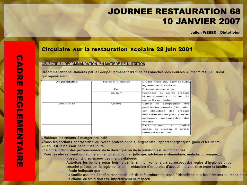 OBJECTIF 3 : RECOMMANDATION EN MATIERE DE NUTRITION Recommandations élaborés par le Groupe Permanent dÉtude des Marchés des Denrées Alimentaires (GPEM