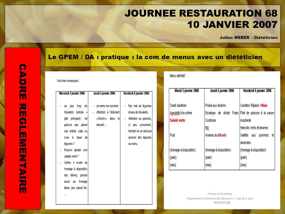 Le GPEM / DA : pratique : la com de menus avec un diététicien CADRE REGLEMENTAIRE JOURNEE RESTAURATION 68 10 JANVIER 2007 Julien WEBER - Diététicien