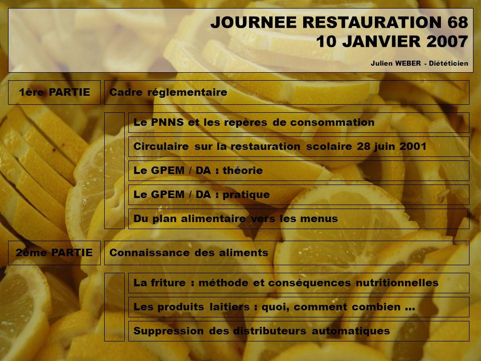 1ère PARTIECadre réglementaire Circulaire sur la restauration scolaire 28 juin 2001 Le GPEM / DA : théorie Le GPEM / DA : pratique Du plan alimentaire