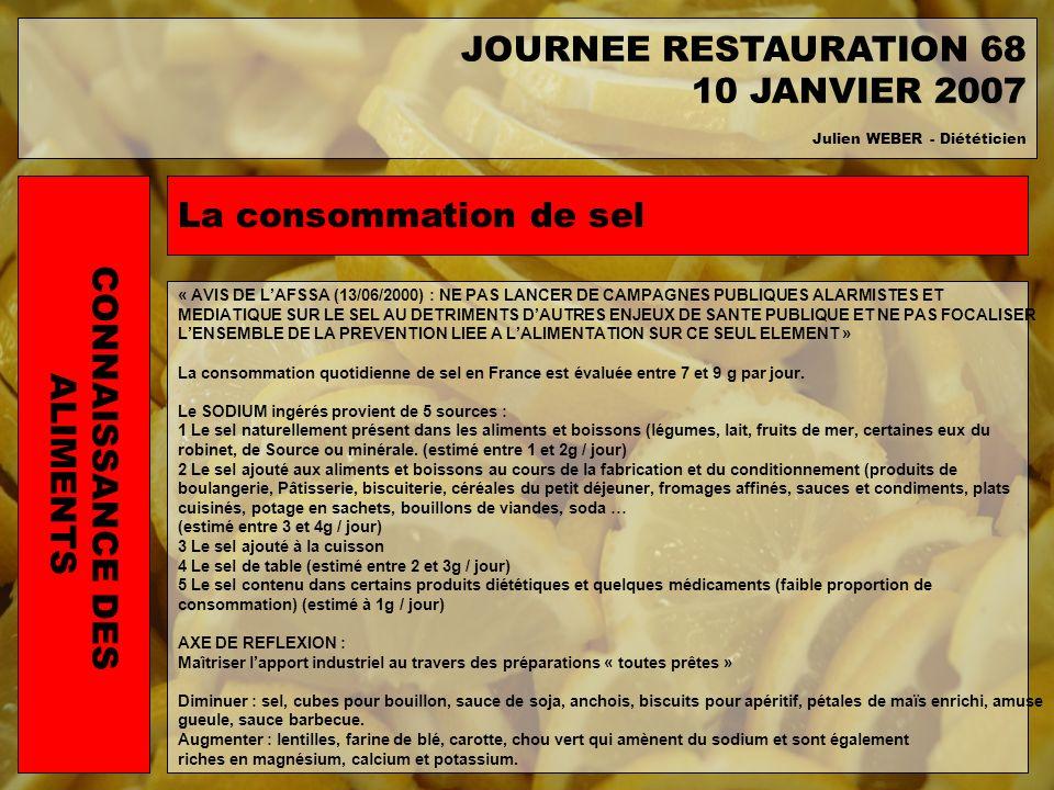 La consommation de sel « AVIS DE LAFSSA (13/06/2000) : NE PAS LANCER DE CAMPAGNES PUBLIQUES ALARMISTES ET MEDIATIQUE SUR LE SEL AU DETRIMENTS DAUTRES